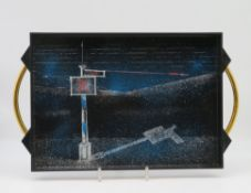 Designer Tablett, WMF, Kunststoff, 4,5 x 51 x 30,5 cm.