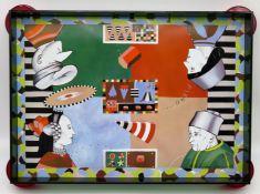 Designer Tablett, Adoma, Kunststoff mit Messinggriffen, 4 x 50 x 30 cm.