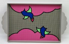 Designer Tablett, Fabienne, Kunststoff, 6 x 33 x 45 cm.