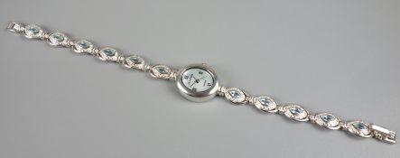 """Damenarmbanduhr """"Clarissa"""", 925er Silber, Armband mit blauen Steinen besetzt, P"""