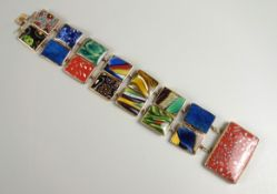 Armband mit Glasschmelzelementen, Murano, Goldfassung, 19.Jh., unterschiedliche