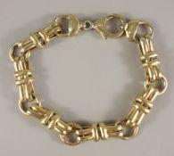 Armband mit großen Gliedern, 925er Silber/vergoldet, Gew.20,91g, große Karabine
