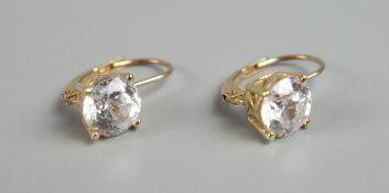Paar Ohrhänger mit Zirkonia, 585er Gold, Gew.2,14g, runder, facettierte Steine