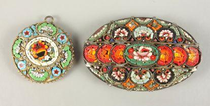 2 Mosaik-Schmuckstücke, Italien, Ende 19.Jh.ovale Brosche, Nadel zu ergänzen, L*H 49*31mm; r