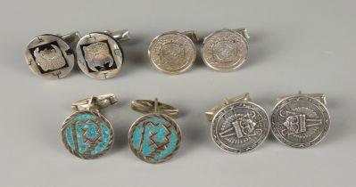 4 Paar Manschettenknöpfe, 925er Silber, MexicoGesamt-Gew.40,79g, Stellknäufe tlw. Alpacca, D