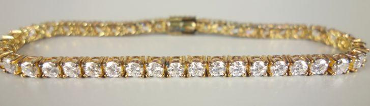 Armband mit hellem Steinbesatz, 925er Silber, vergoldetaus der Reihe: DIAMONIQUE by PRINCESS