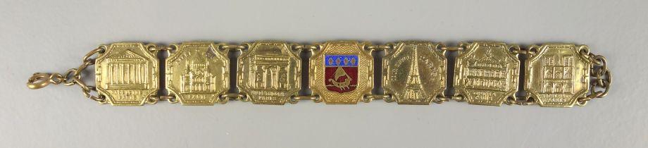 "Souvenirarmband ""Paris"", Frankreich, 1920er JahreMetall; zentrales, achteckiges Mittelstück"
