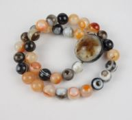 Agate ball necklace, w.115,63g