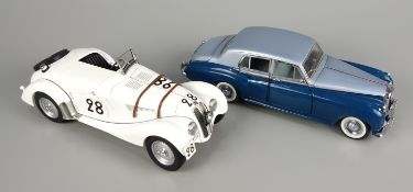 2 model cars, Franklin Mint 1955 Bentley S and Auto-Art BMW 328: BMW 328 Roadster 24H Le Mans 1939,