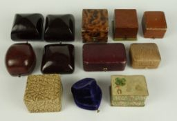 12 jewellery boxes, mostly for rings, approx. 1900-1950
