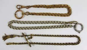 3 watch chains, doublé and nickel, early 20th century, l.25-33cm