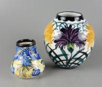 Vase, Carstens- Keramik, Elmshorn and Vase, Schramberger Majolika-Fabrik, Art Nouveau