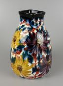 Vase with flower decoration in hand painting, Schramberger Majolika, c.1910