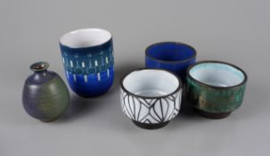 5-piece studio pottery set: vase, cup and 3 small bowls, 2nd half of the 20th century