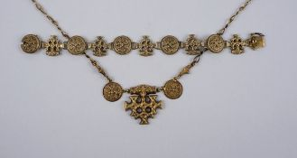 Necklace and bracelet, Hiddensee jewellery, goldsmith C. Stabenow, Stralsund, silver/gold-plated, w