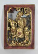 Konvolut aus drei Schnitzereien, Holz. 1. Halbrunde Holzschnitzerei mit Blüten und Ranken, 71,5 x<