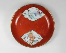 Porzellanschälchen, polychrome Überglasur, China, im Spiegel zwei Felder mit figürlicher Darstel
