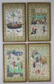 Vier Miniaturen, Persien, Stoff, Szenen mit Schifffahrt, Polo-Spiel, Jagd und Spaziergang, teilweis