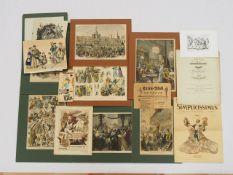 Konvolut Graphik Eintrittskarten und Programmhefte zum Thema Karneval 19. Jahrhundert
