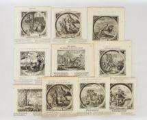 CATS, Jacob: Zehr Blatt mit vierzehn Darstellungen zu niederländischen Sprichwörtern