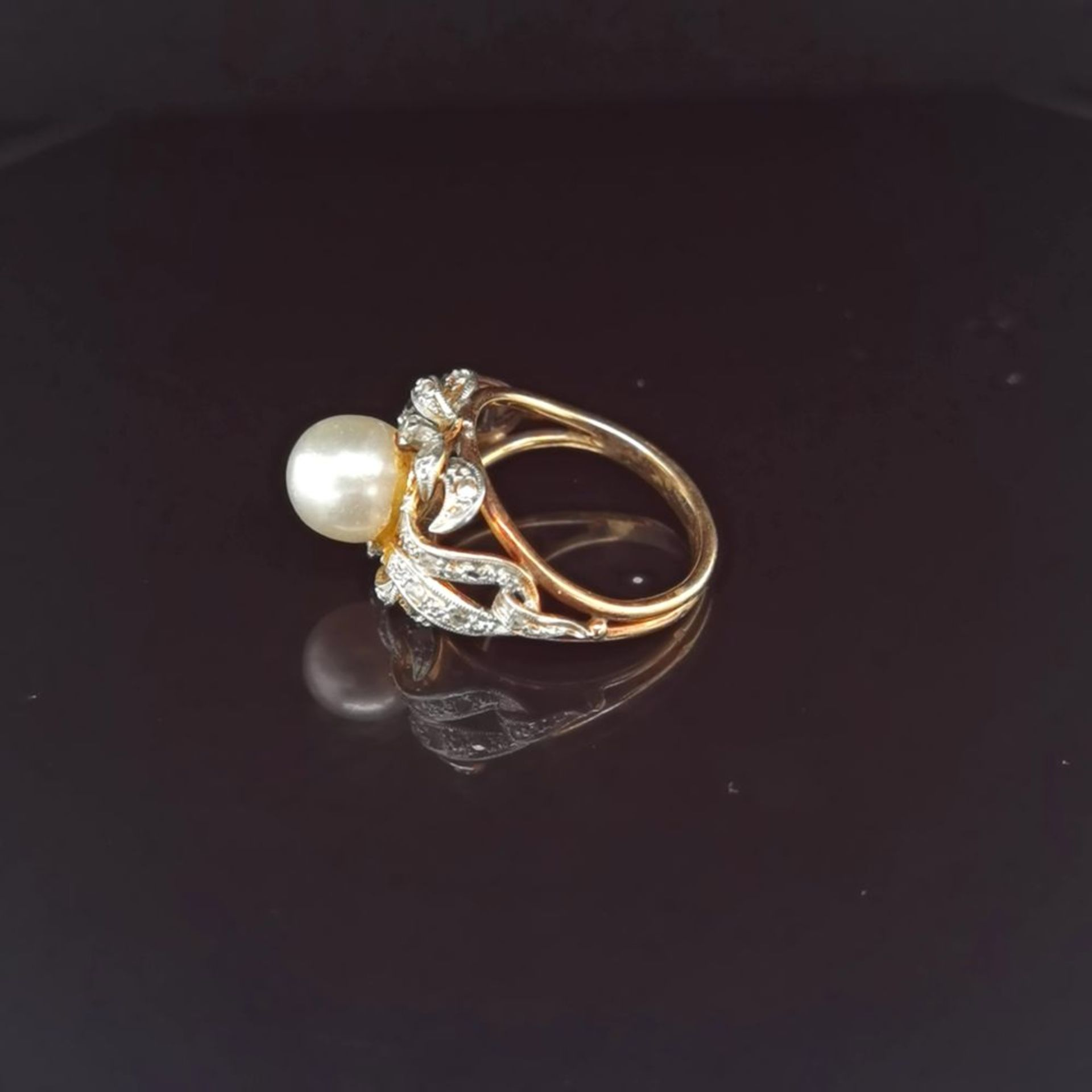 Perl-Diamant-Ring, 585 Gold 5,8 - Image 2 of 3