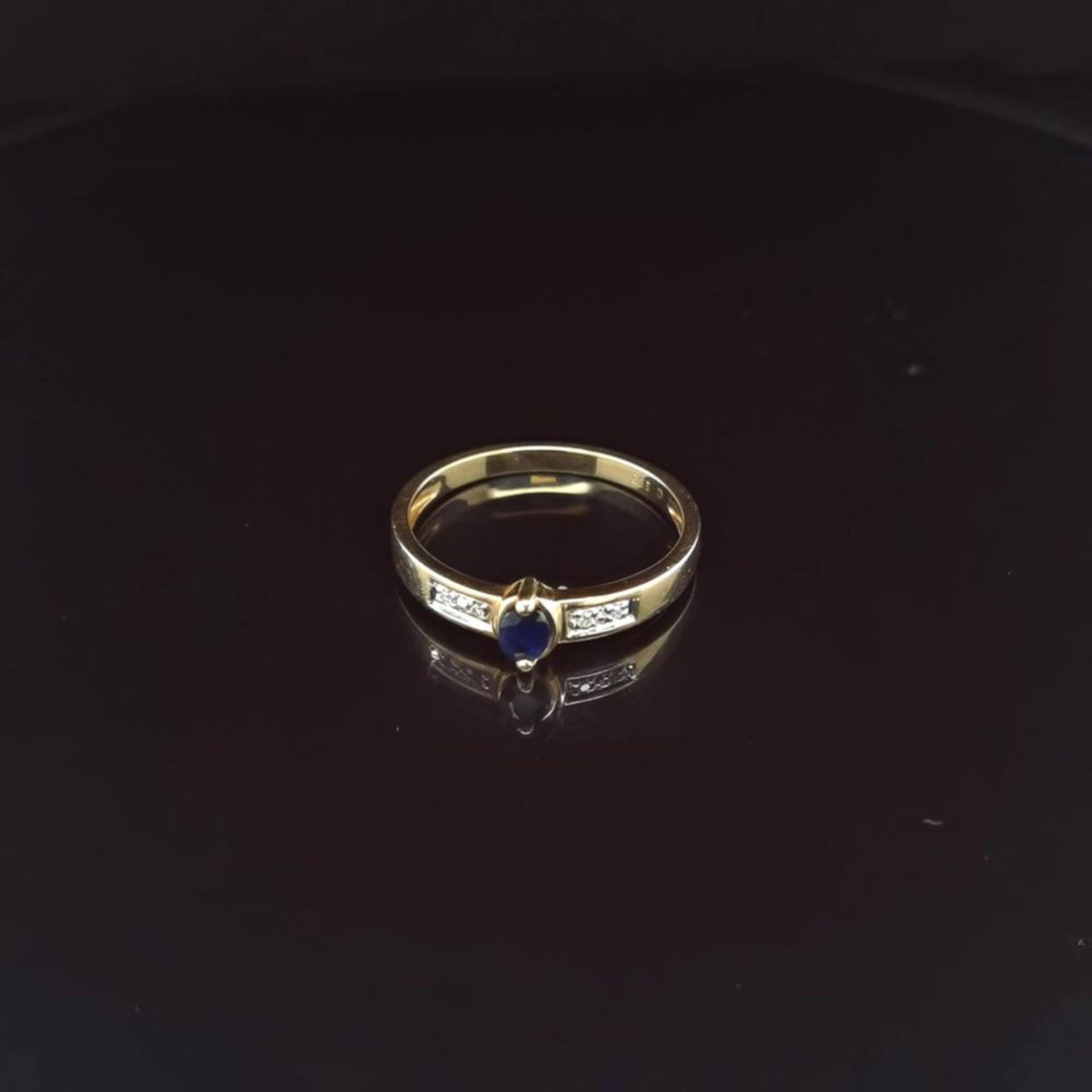 Saphir-Diamant-Ring, 585 Gelbgold 2,1