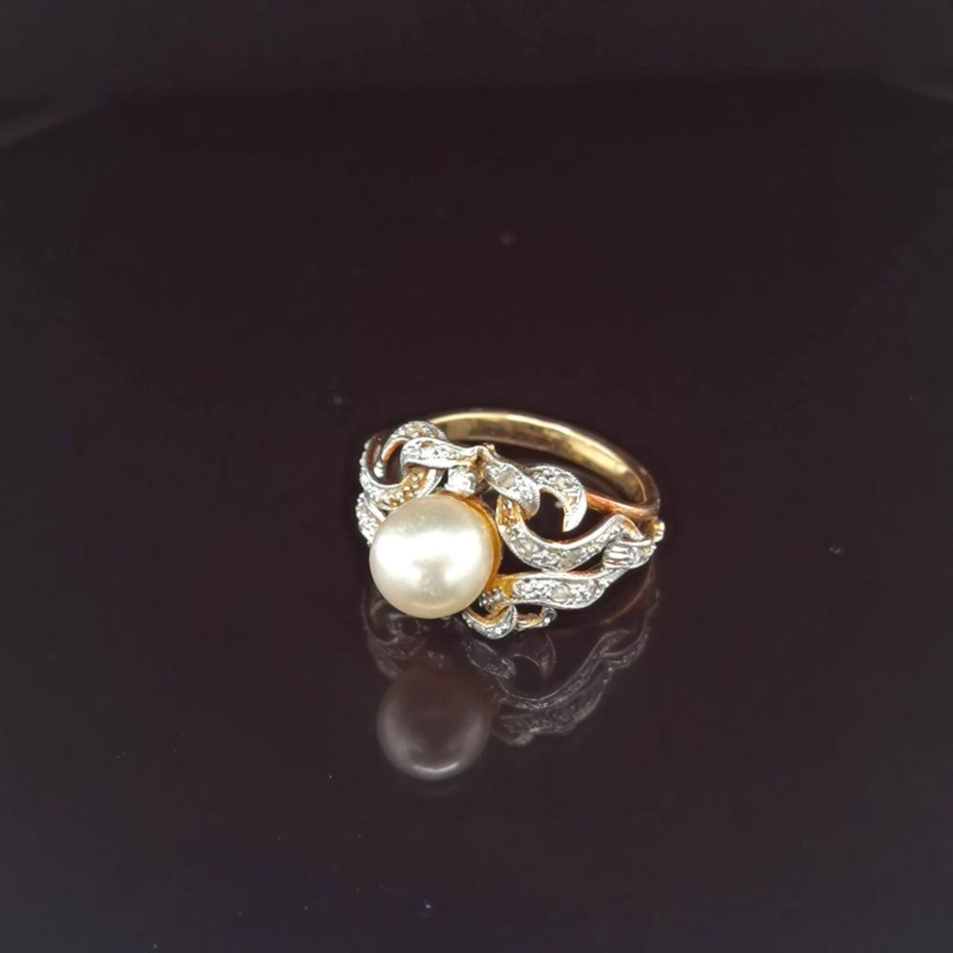 Perl-Diamant-Ring, 585 Gold 5,8
