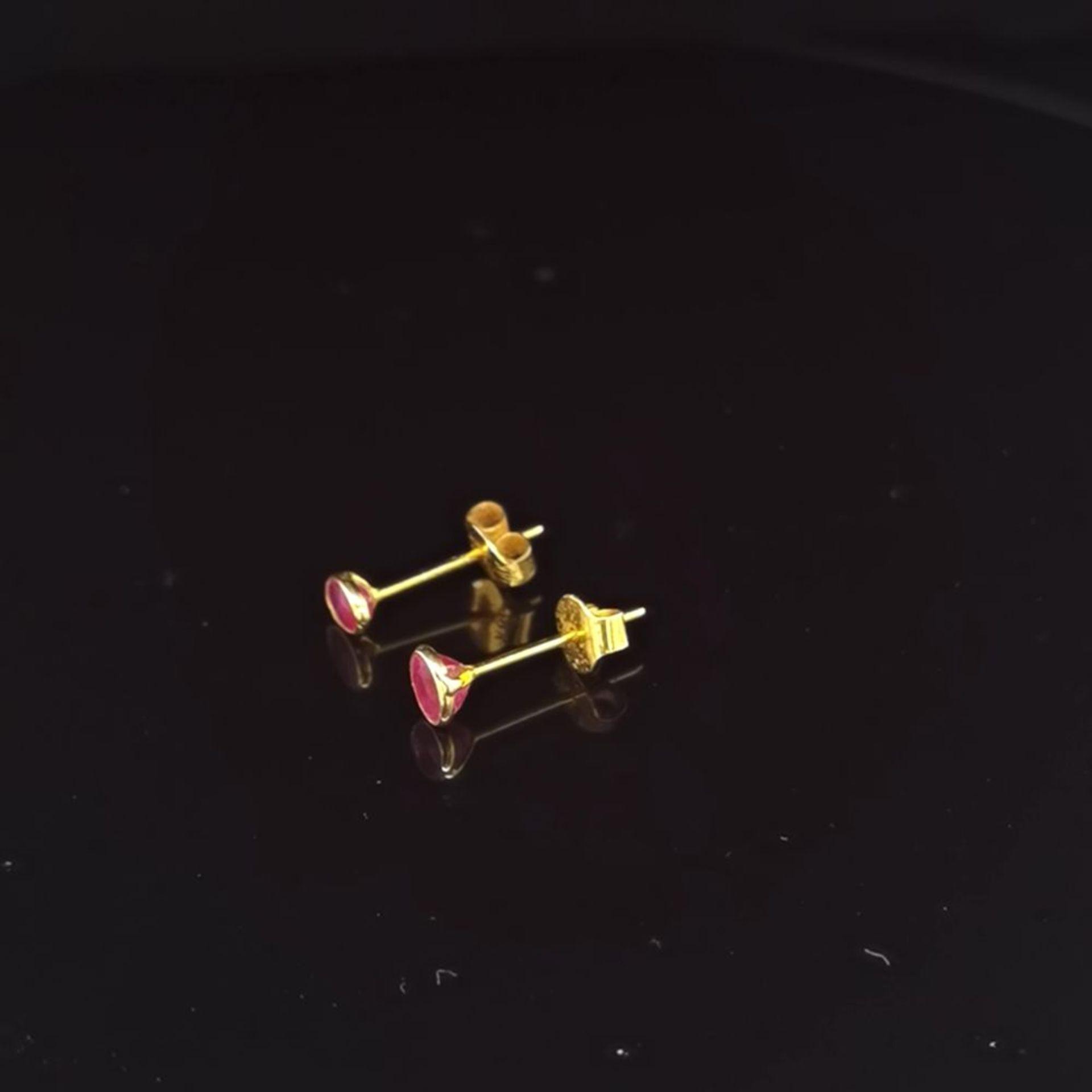 Rubin-Ohrstecker, 750 Gold 0,7 - Image 2 of 3