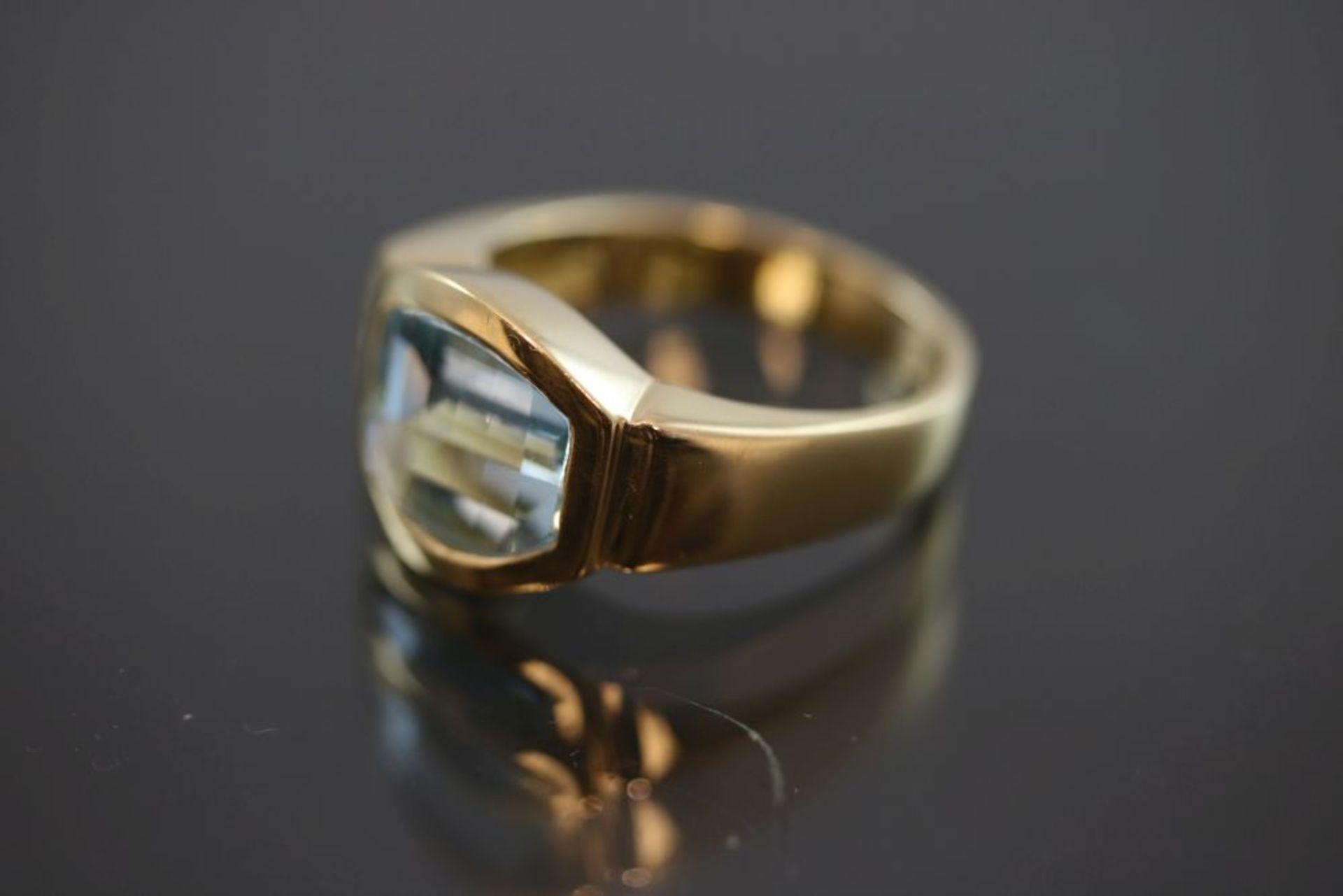 Aquamarin-Brillant-Ring, 750 Gold 9,6 - Image 2 of 3