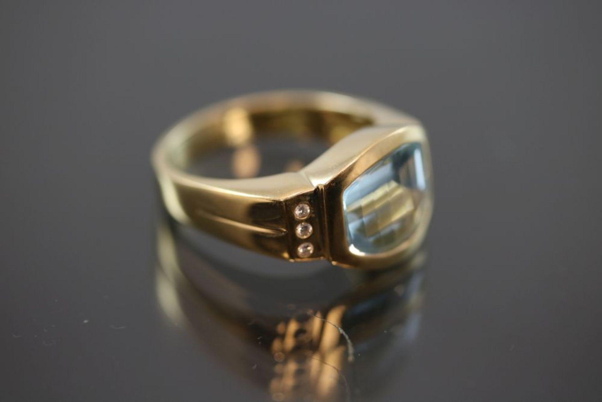 Aquamarin-Brillant-Ring, 750 Gold 9,6 - Image 3 of 3
