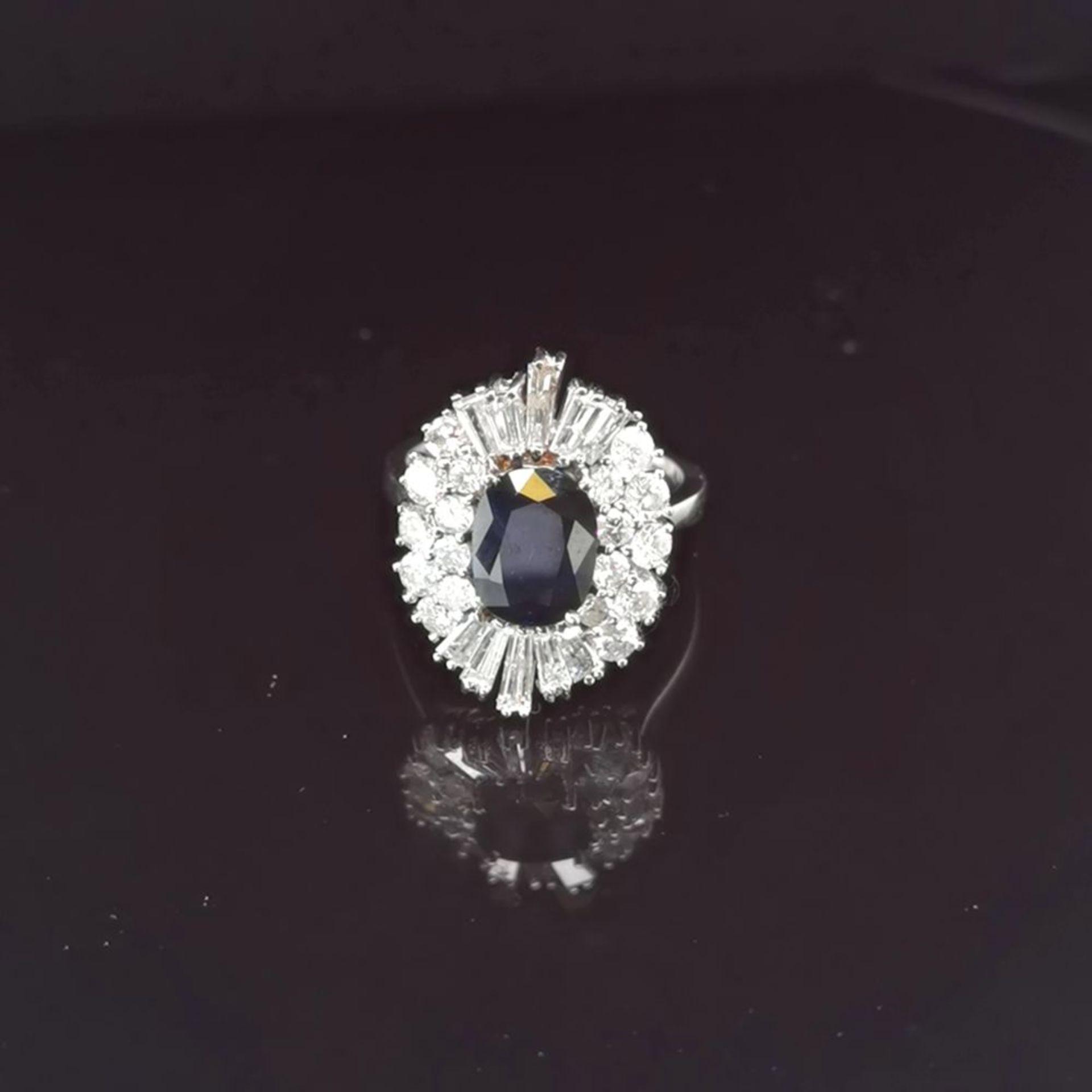 Saphir-Brillant-Ring, 585 Weißgold 6,7