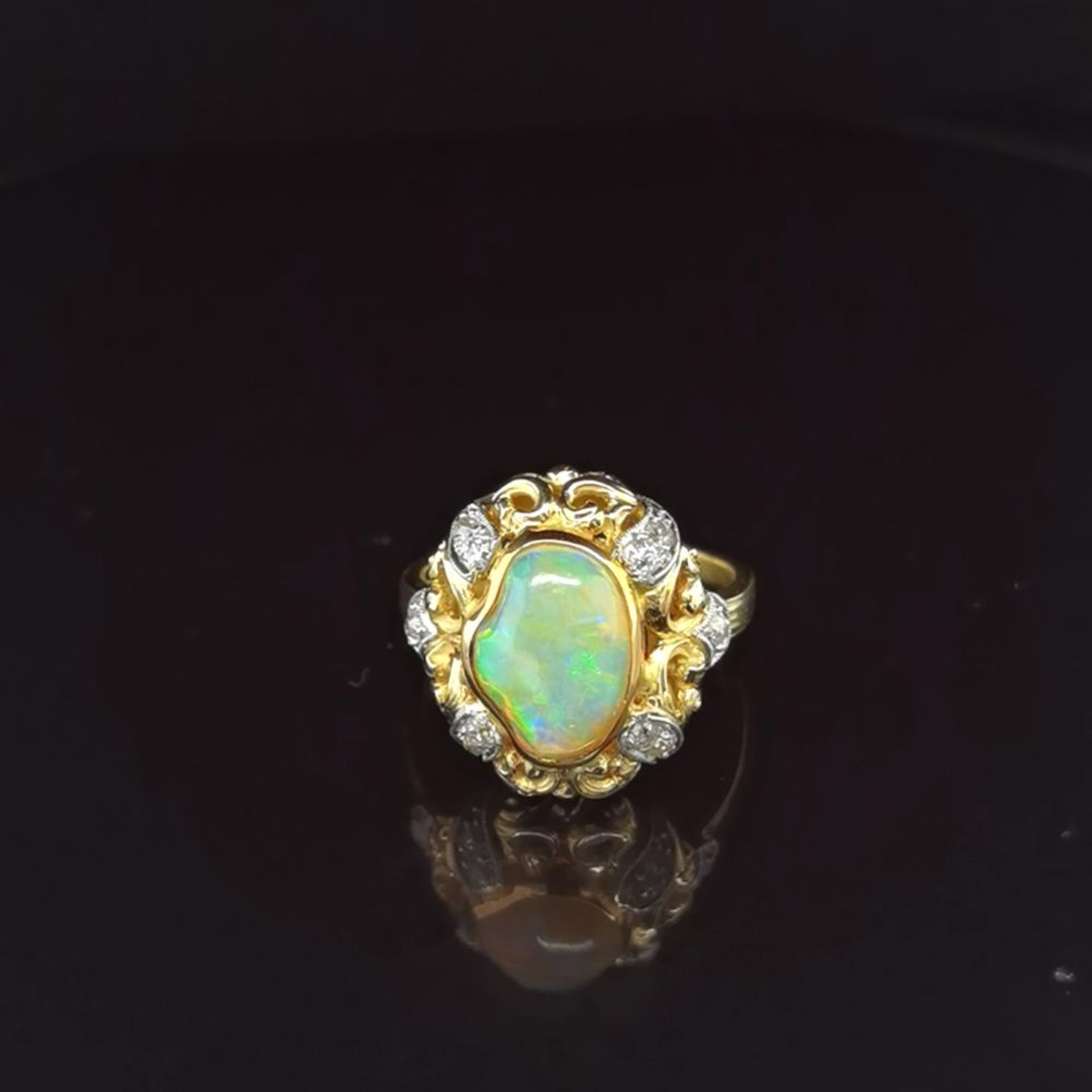 Opal-Brillant-Ring, 750 Gelbgold 7,5