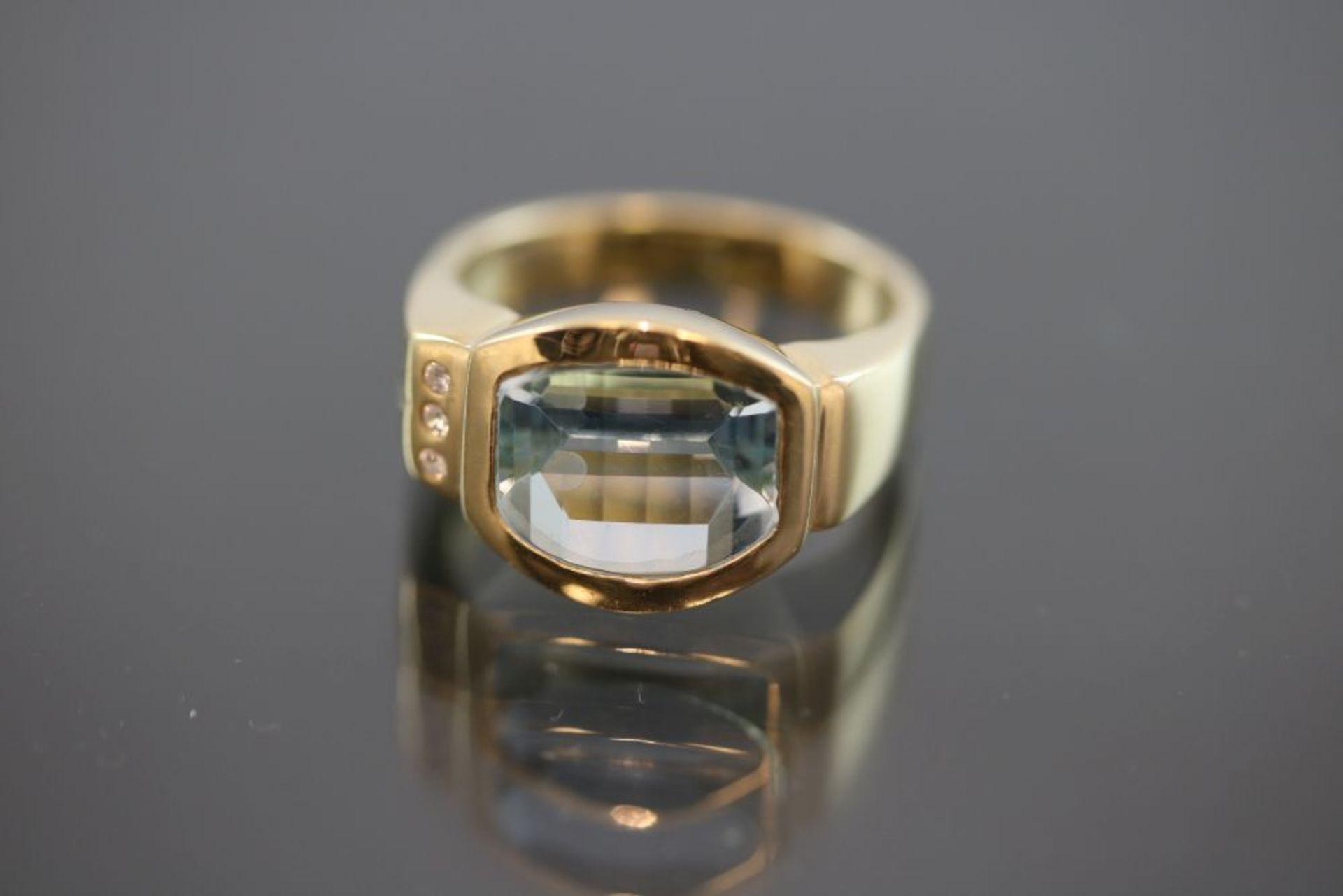 Aquamarin-Brillant-Ring, 750 Gold 9,6
