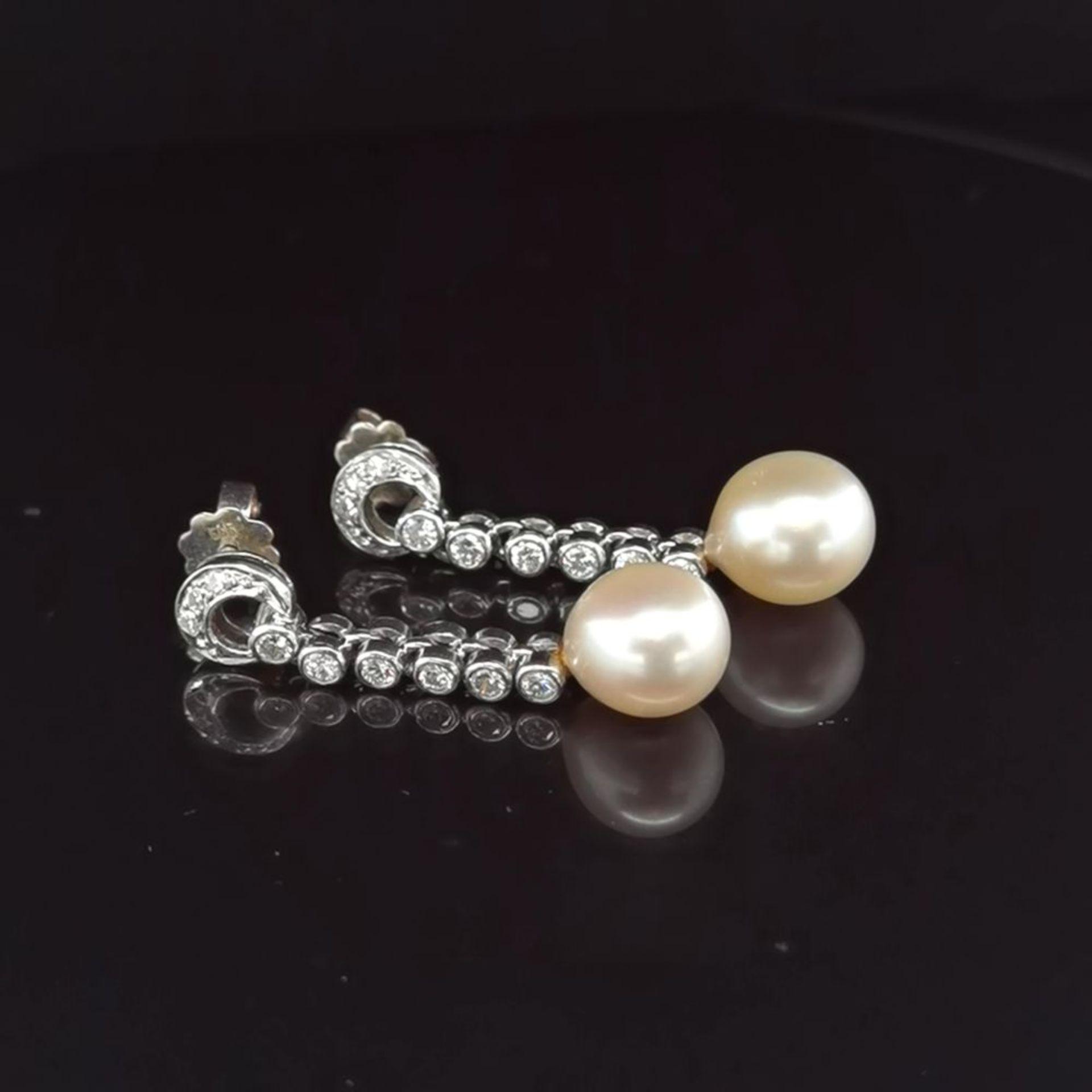 Perl-Brillant-Ohrhänger, 585 Weißgold