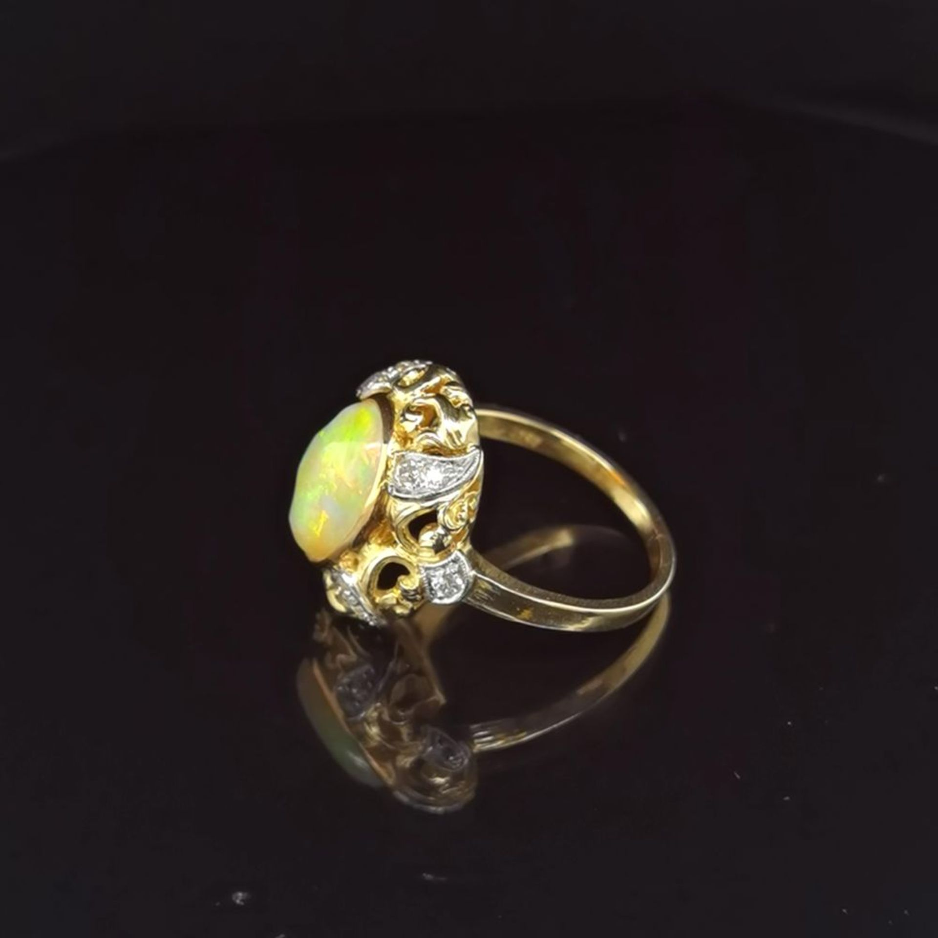 Opal-Brillant-Ring, 750 Gelbgold 7,5 - Image 2 of 3