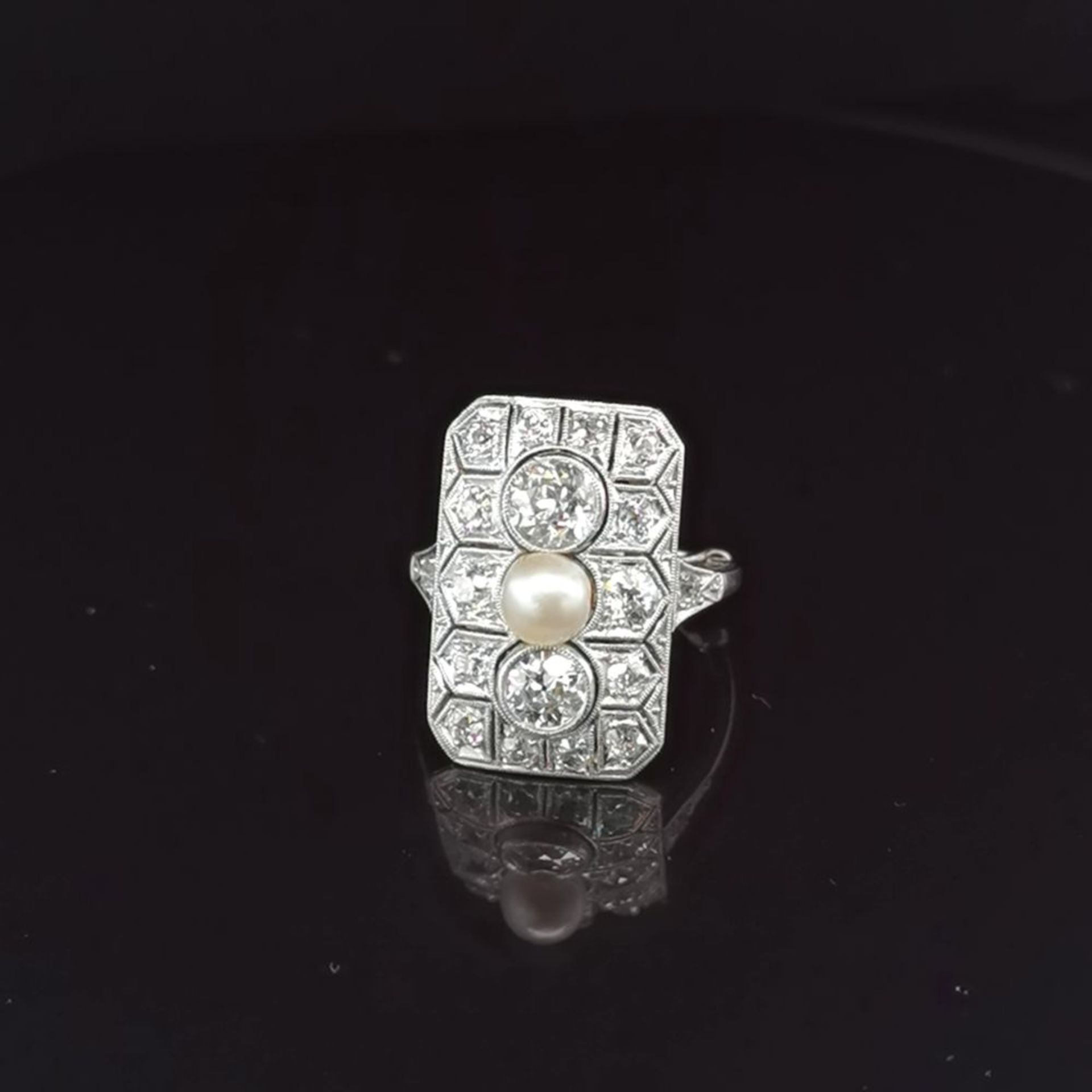 Perl-Diamant-Ring, 585 Weißgold 5,5