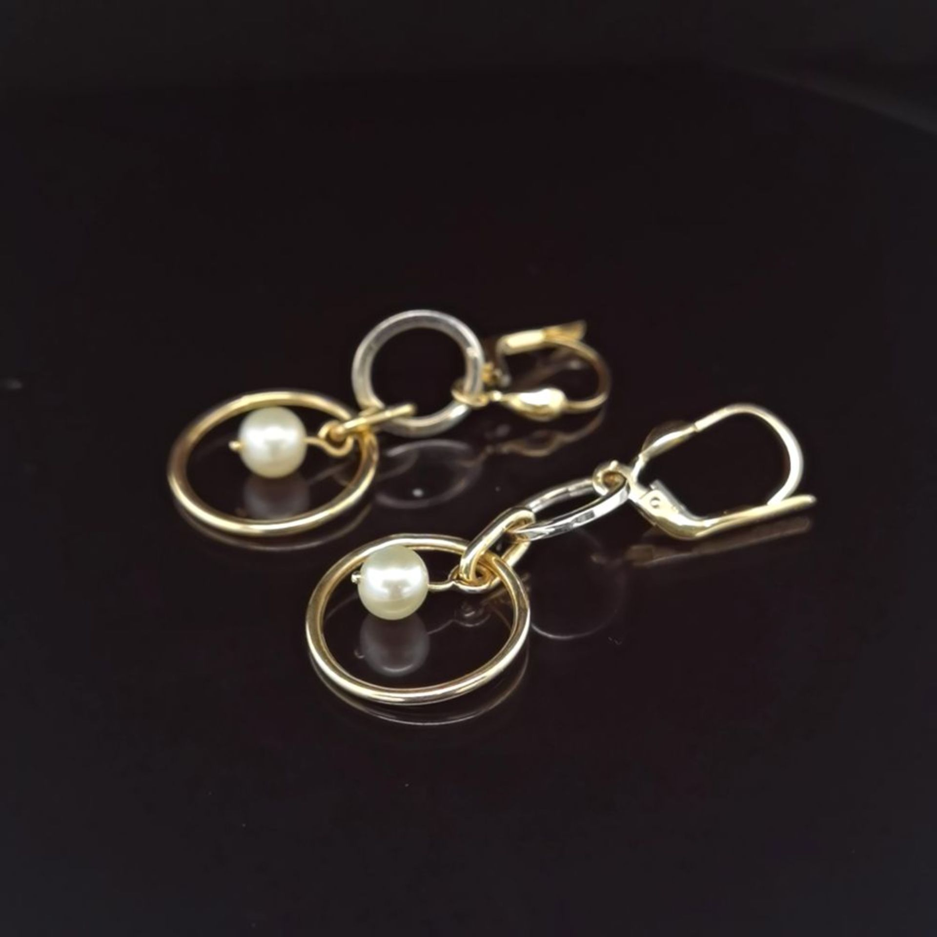 Perl-Ohrhänger, 585 Weiß/Gelbgold 2,5