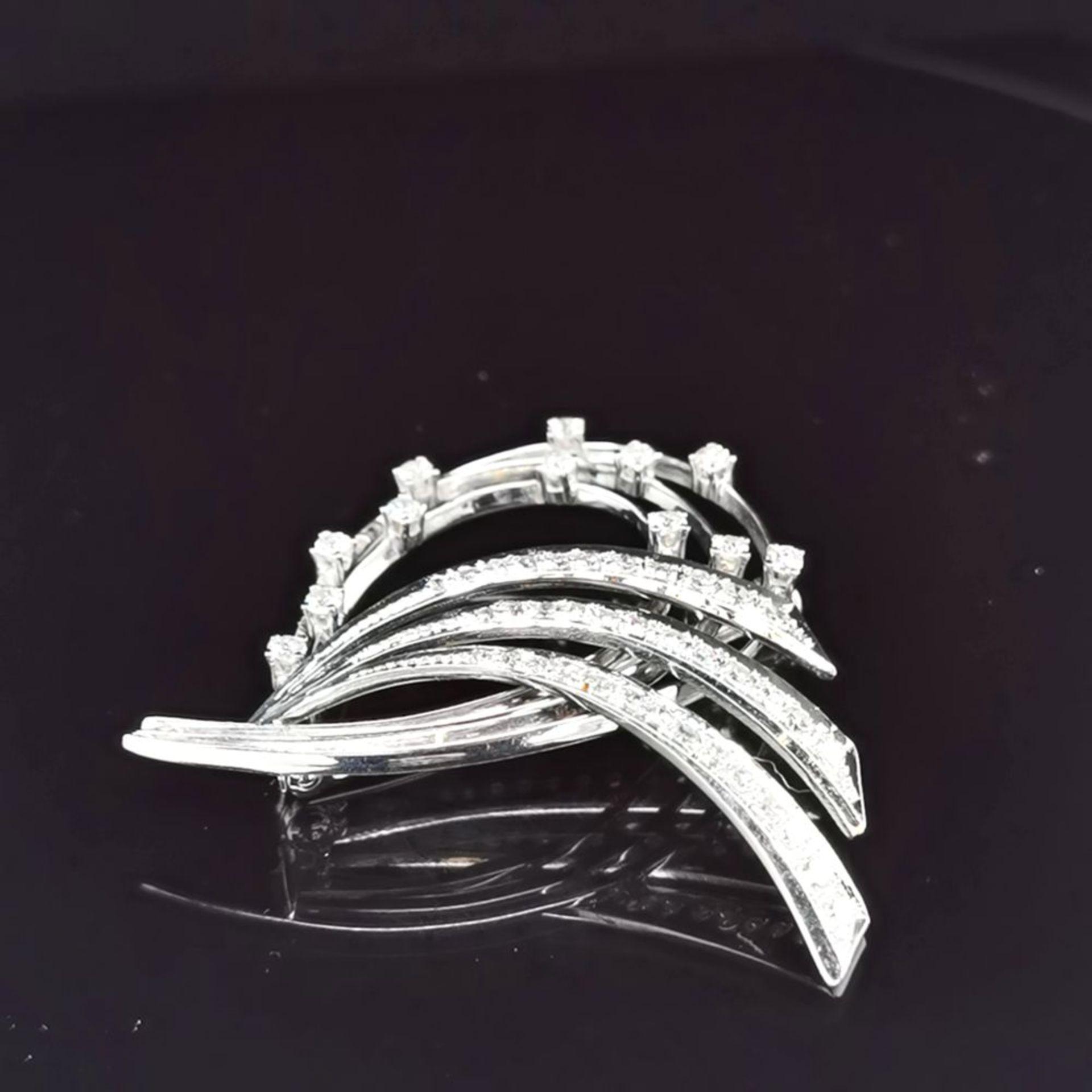 Diamant/Brillant-Brosche, 585 Weißgold - Image 2 of 3