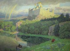 Lietzmann.Hans 1872-1955 Seestück mit Burg « wohl Israel Öl/Lwd. 185x150cm Li.u.Sign.und dat.1925