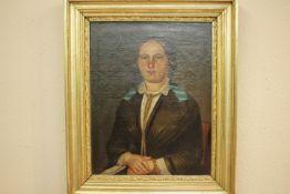 Göser,Carl-Friedrich Biberach 1803-1858 Junge Frau im Sonntagsstaat « Öl /Lwd. 50x66cm R.u.sign.und