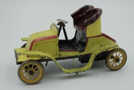 Bing Uralt Auto Blech Farbig gefasst wohl um 1910 Federwerk nicht geprüft,Gummibereifung bespielter