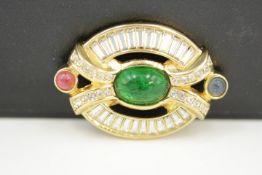 Grosse Pforzheim Modeschmuck Vintage Oval förmige Brosche gebraucht,getragen Maße:4,5 x 3cm