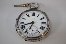 Spindel Taschenuhr Silber H.Stone Leeds Schlüsselaufzug wohl um 1860 Intakt Durchm.60mm
