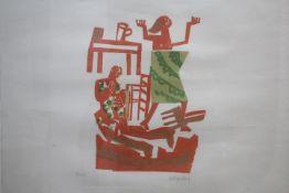 Grieshaber HAP 1909-1981 Reutlingen Farb Holzschnitt ohne Titel « re.u. sig. li.u.bez.Probe Blatt