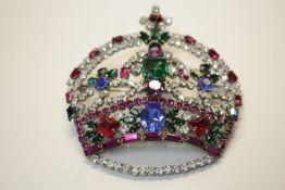 Modeschmuck Vintage Brosche Prunkvolle Krone Fa.Weiss Maße:8x7,5cm