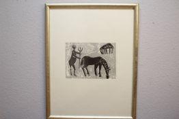 Grieshaber HAP 1909-1981 Reutlingen Holzschnitt Bauer mit Pferd und Schaf « Blattnr.14/60 li.u.bez.