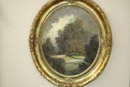 Berger, M.? Flusslandschaft mit Personen « im ovalen Rahmen wohl um 1900 Öl/Platte Verso Etikett: