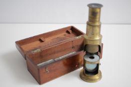 Kleines Reise Mikroskop Im Original Holzkasten