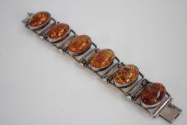 BERNSTEIN Armband 6 ovale Steine Amber