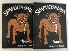 """""""Simplicissimus"""" gebundene satirische Zeitschriften 1.u.2. Halbjahr 1961, 2 Bände,"""